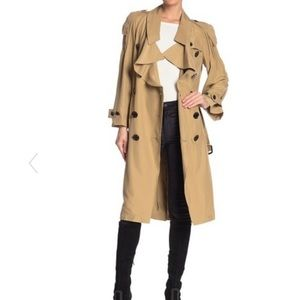 Burberry Bay Double Breasted Ruffle Trench Coat
